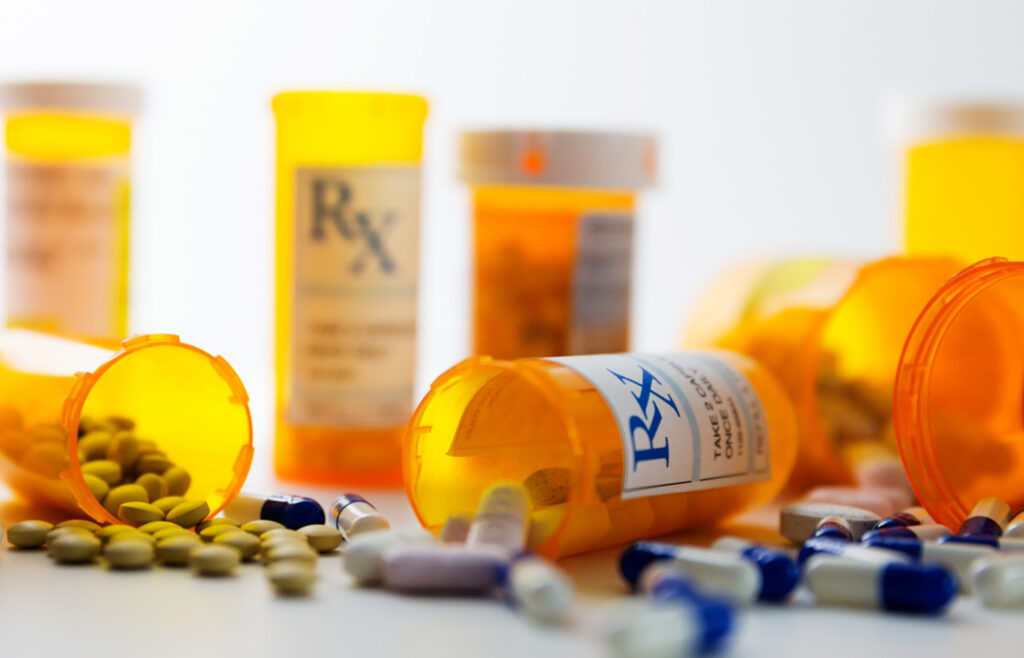 Prescription bottles with pills